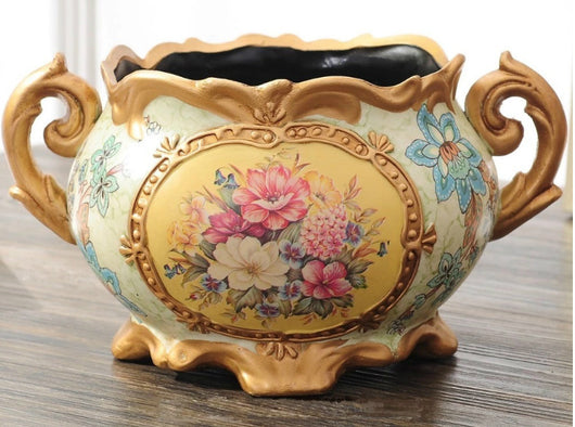 samiksha Vintage Collection - Gold Rimmed Wide Mouth Ceramic Vase with Handles - Samiksha's - Vase - www.samiksha.com
