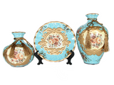 samiksha Royal Collection - 3 Piece Ceramic Vase Set - Light Blue - Samiksha's - Vase set - www.samiksha.com