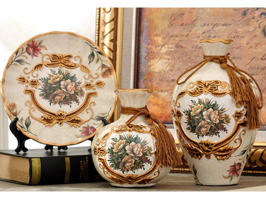 samiksha Royal Collection - 3 Piece Ceramic Vase Set - Light Brown - Samiksha's - Vase set - www.samiksha.com