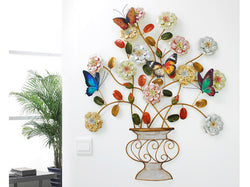samiksha Metal Flower Pot Wall Decor with Multi Color Flowers and Butterflies - Samiksha's - Wall Art - www.samiksha.com