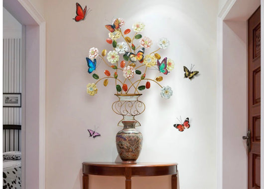 Metal Flower Pot Wall Decor with Multi Color Flowers and Butterflies ...