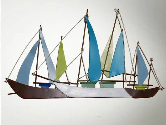 samiksha Sailing Blue Boats - Metal Wall Decor - Samiksha's - Wall Art - www.samiksha.com