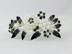 samiksha Barrette with colored rhinestones and white pearls - Black - Samiksha's - barrette - www.samiksha.com