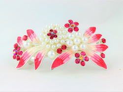 samiksha Barrette with colored rhinestones and white pearls - Pink - Samiksha's - barrette - www.samiksha.com