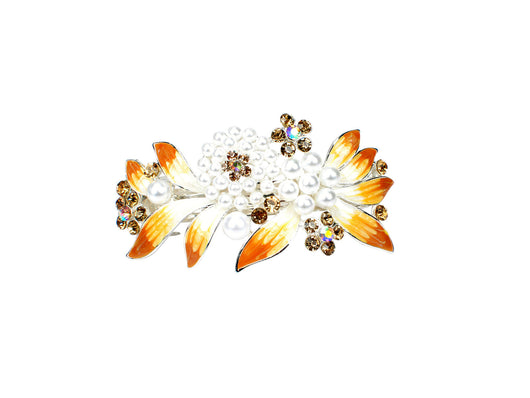samiksha Barrette with colored rhinestones and white pearls - Yellow - Samiksha's - barrette - www.samiksha.com