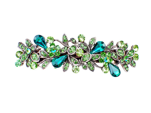 samiksha Antique silver metal hair barrette clip with tear drop crystals - Green - Samiksha's - barrette - www.samiksha.com