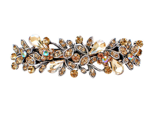 samiksha Antique silver metal hair barrette clip with tear drop crystals - Peach - Samiksha's - barrette - www.samiksha.com