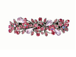 samiksha Antique silver metal hair barrette clip with tear drop crystals - Pink - Samiksha's - barrette - www.samiksha.com