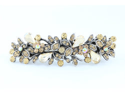samiksha Antique silver metal hair barrette clip with tear drop crystals - Topaz - Samiksha's - barrette - www.samiksha.com