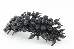samiksha Matte finish hair barrette leaves with sparkling crystal rhinestones - Black - Samiksha's - barrette - www.samiksha.com