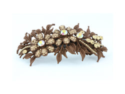 samiksha Matte finish hair barrette leaves with sparkling crystal rhinestones - Brown - Samiksha's - barrette - www.samiksha.com