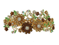 samiksha Golden bronze hair barrette clip with champagne color imitation pearls and crystals - Samiksha's - barrette - www.samiksha.com