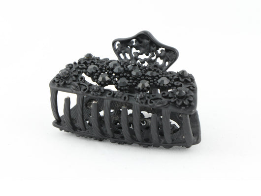 samiksha Black metal hair claw clip with black stones on a tiny floral pattern - Samiksha's - Hairclaw - www.samiksha.com