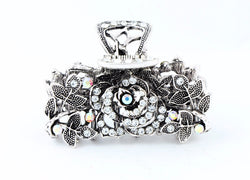 samiksha Antique silver finish hair claw clip with multicolor rhinestones - Samiksha's - Hairclaw - www.samiksha.com