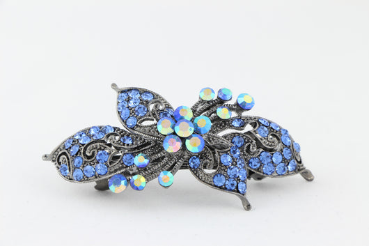 samiksha Antique silver hair barrette with complimenting color small rhinestones - Lavender - Samiksha's - barrette - www.samiksha.com