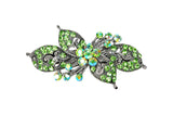 samiksha Antique silver hair barrette with complimenting color small rhinestones - Olive Green - Samiksha's - barrette - www.samiksha.com