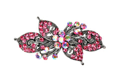 samiksha Antique silver hair barrette with complimenting color small rhinestones - Pink - Samiksha's - barrette - www.samiksha.com