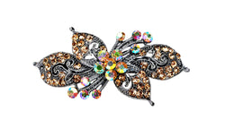 samiksha Antique silver hair barrette with complimenting color small rhinestones - Topaz - Samiksha's - barrette - www.samiksha.com