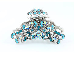 samiksha Antique silver metallic hair claw clip with colored rhinestones - Ocean Blue - Samiksha's - Hairclaw - www.samiksha.com