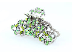 samiksha Antique silver metallic hair claw clip with colored rhinestones - Green - Samiksha's - Hairclaw - www.samiksha.com