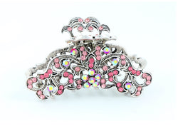 samiksha Antique silver metallic hair claw clip with colored rhinestones - Pink - Samiksha's - Hairclaw - www.samiksha.com