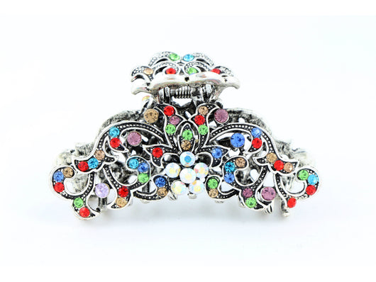 samiksha Antique silver metallic hair claw clip with colored rhinestones - Multi Color - Samiksha's - Hairclaw - www.samiksha.com