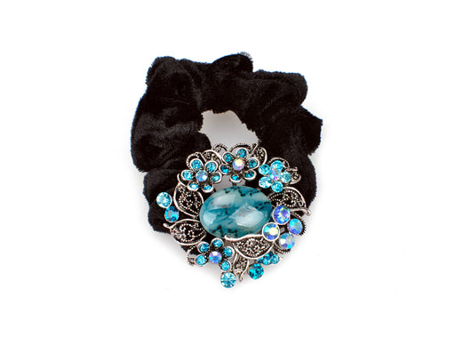 samiksha Wreath design pony tail holder with translucent beads and crystals - Blue - Samiksha's - Pony Tail - www.samiksha.com