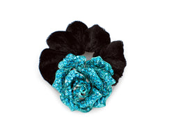 samiksha Rose flower pony tail holder with two tone color sparkling with crystals - Blue - Samiksha's - Pony Tail - www.samiksha.com