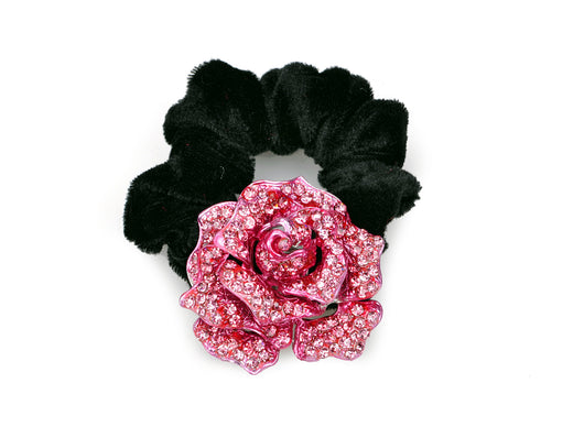 samiksha Rose flower pony tail holder with two tone color sparkling with crystals - Pink - Samiksha's - Pony Tail - www.samiksha.com