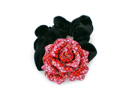 samiksha Rose flower pony tail holder with two tone color sparkling with crystals - Red - Samiksha's - Pony Tail - www.samiksha.com