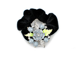 samiksha Pony tail holder with silver leaves and pomegranate flowers - Grey - Samiksha's - Pony Tail - www.samiksha.com