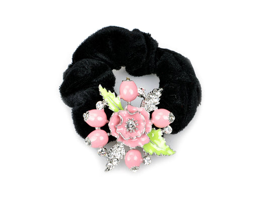 samiksha Pony tail holder with silver leaves and pomegranate flowers - Pink - Samiksha's - Pony Tail - www.samiksha.com