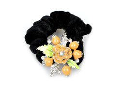 samiksha Pony tail holder with silver leaves and pomegranate flowers - Yellow - Samiksha's - Pony Tail - www.samiksha.com