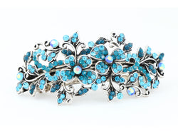 samiksha Hair barrette clip with butterfly flowers and leaves - Blue - Samiksha's - barrette - www.samiksha.com