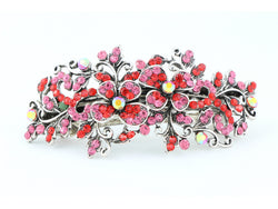 samiksha Hair barrette clip with butterfly flowers and leaves - Red - Samiksha's - barrette - www.samiksha.com