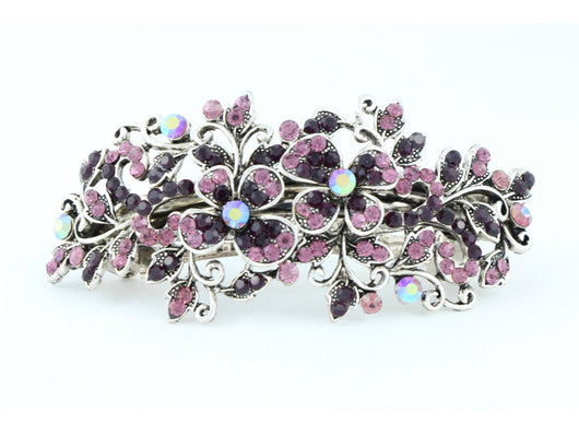 samiksha Hair barrette clip with butterfly flowers and leaves - Wine - Samiksha's - barrette - www.samiksha.com