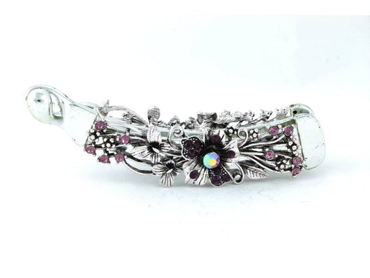 samiksha Gun metal color banana hair clip with dark violet flowers - Samiksha's - banana clip - www.samiksha.com