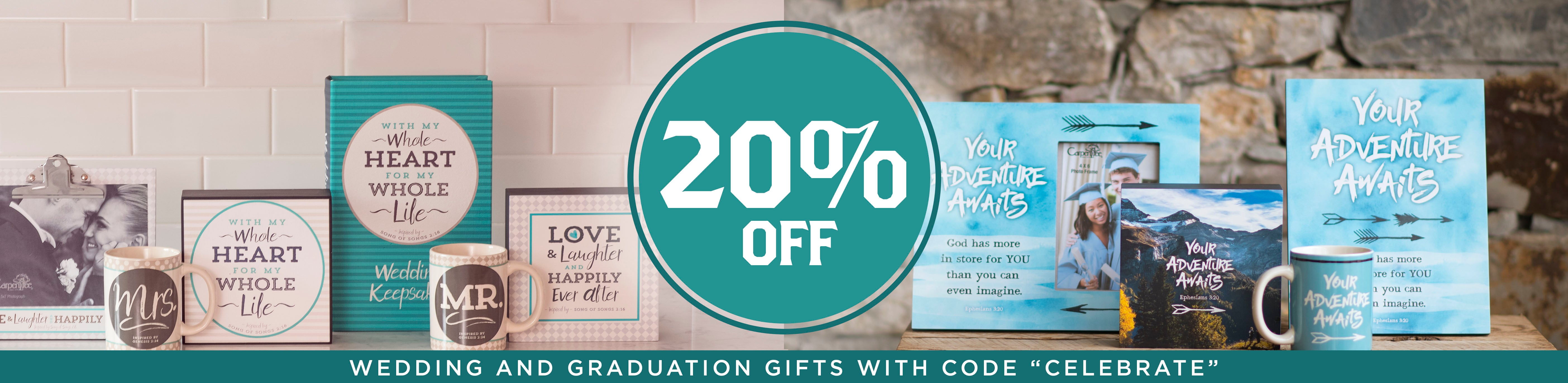 20 % off Graduation and Wedding Gifts