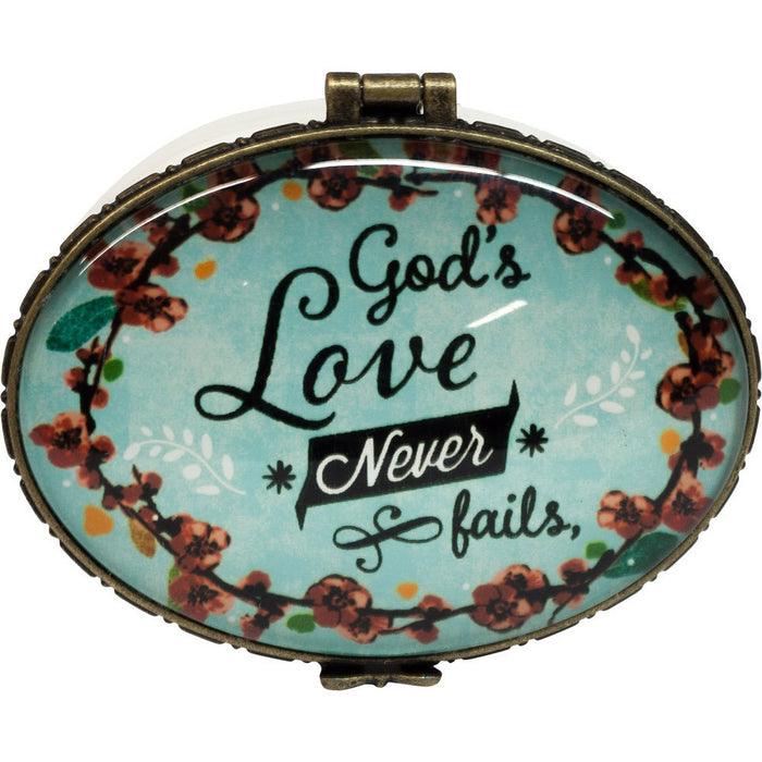God's Love Never Fails Keepsake Box