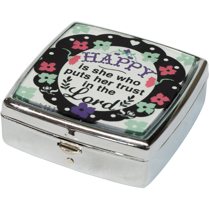 Happy Is She Who Trusts Pill/Mint Box