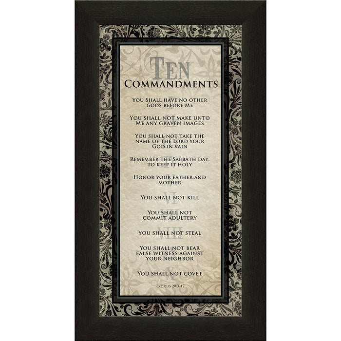 Ten Commandments Vertical Framed Art