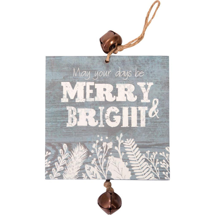 Hanging Mini Plaque Merry & Bright Ornament (12655) - Carpentree