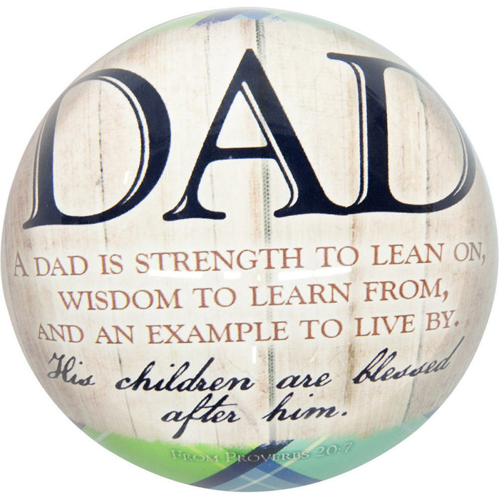 Dad Round Glass Paperweight