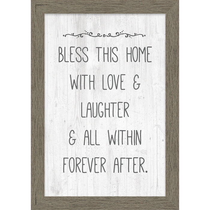 Bless This Home Natural Framed Canvas