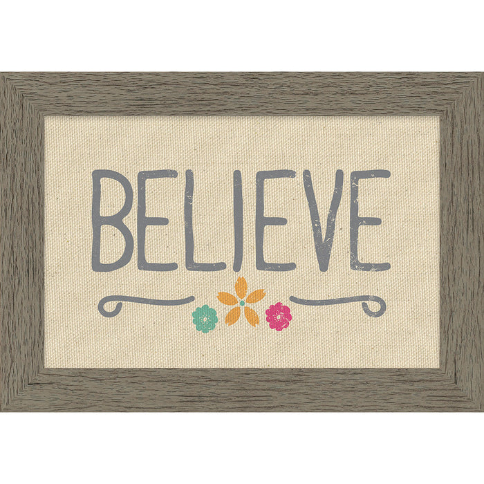 Believe Framed Natural Canvas