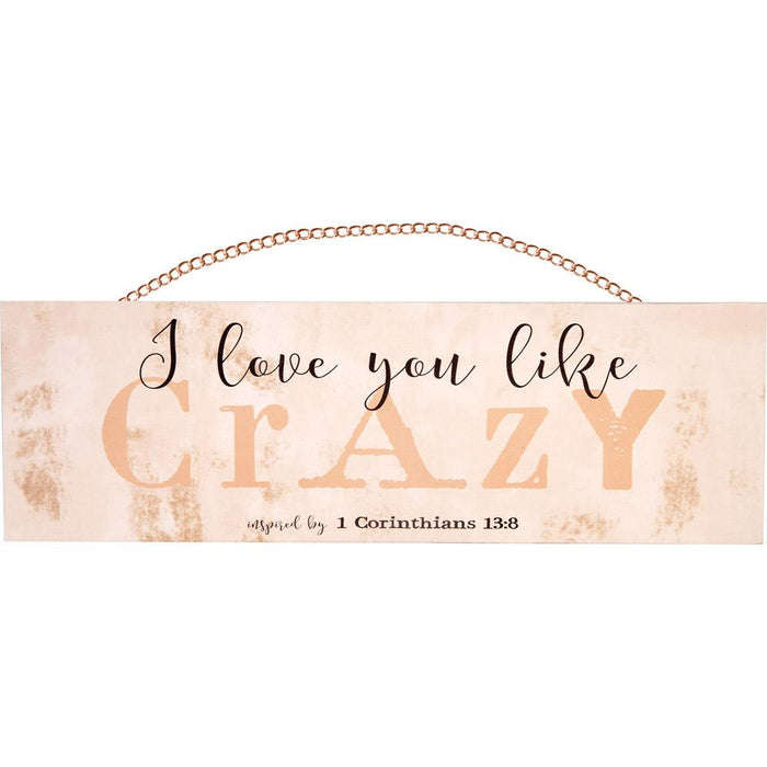 I Love You Like Crazy Plaque With Copper Chain (18626) - Carpentree