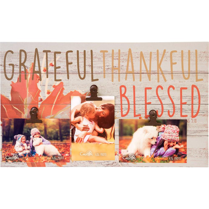 Give Thanks Collection Grateful, Thankful, Blessed Photo Plaque (18637) - Carpentree