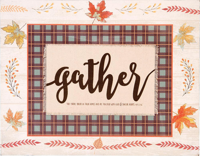 Give Thanks Collection Gather Layered Plaque (18657) - Carpentree
