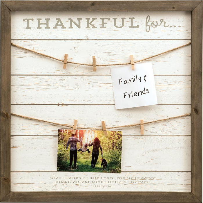Thankful for Wooden Clip Photo Wall Art (18798) - Carpentree