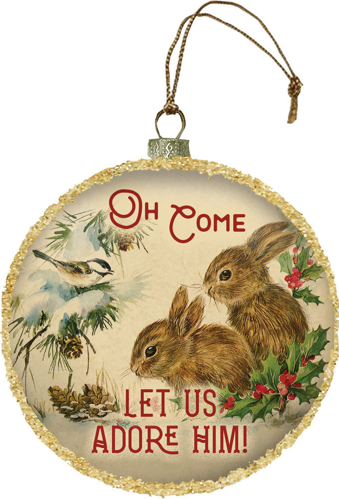Oh Come Let Us Adore Him Glass Globe Ornament